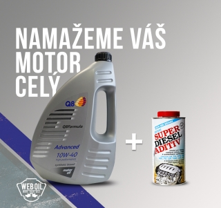 Olej Q8 Formula Advanced 10W-40 4L a VIF Super Diesel Aditiv zimní 500 ml