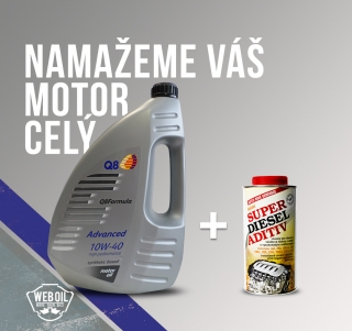 Olej Q8 Formula Advanced 10W-40 4l a VIF Super Diesel Aditiv letní 500 ml